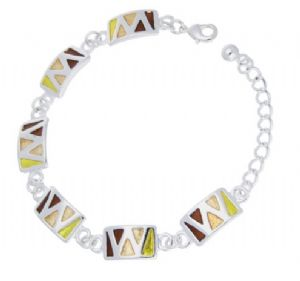 Brown & Yellow Enamel Geometric Link Bracelet